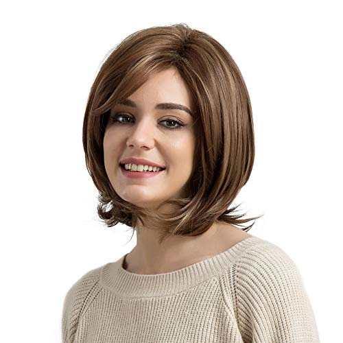 Inkach Synthetic Wig | Womens Curly Short Bob Wigs with Inclined Bang - Costume Party Hair Wig (Brown) -