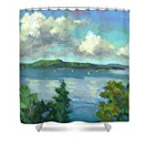 Pixels Shower Curtain (74'' x 71'') ''Sailing On Puget Sound''