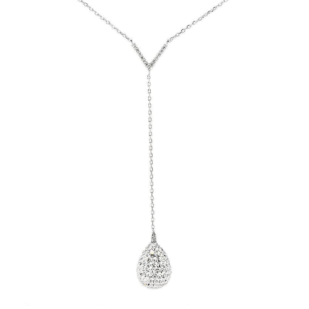 Cate & Chloe Ava Crystal Teardrop Sterling Silver Necklace, Y Necklace, CZ Crystal Pendant, Chain Necklace, Clasp Necklace, Drop Necklace, Best Necklace for Women, Teens, Girls - msrp 125