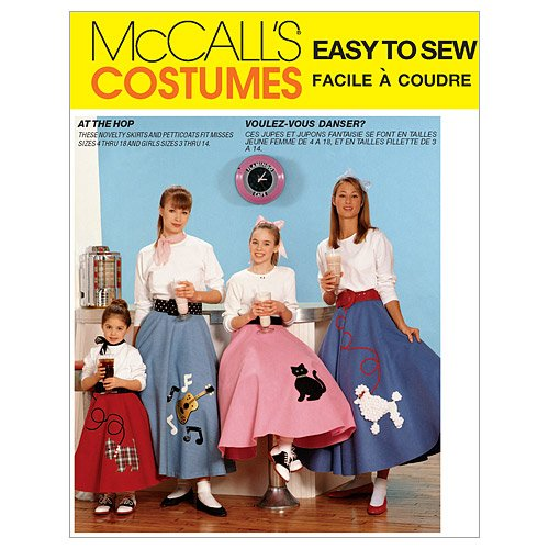 1950s Costumes- Poodle Skirts, Grease, Monroe, Pin Up, I Love Lucy McCalls Patterns M6101 Childrens/Girls/Misses Pull-On Skirt and Petticoat Size Miss (XSM-SML-MED-LRG) $7.88 AT vintagedancer.com