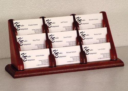Dark Mahogany Top - Wooden Mallet Desktop BCC3-9 Nine-Pocket Oak Table Business Card Holder in Dark Red Mahogany from ABC Office