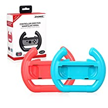Joy-Con Steering Wheel, Left & Right Controller Direction Manipulate Steering Wheel Grip Handle for Nintendo Switch Controllers (Red+Blue)
