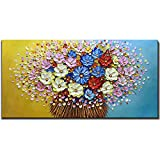 Asdam Art-Flower Oil Painting on Canvas 3D Hand Painted Modern Art Abstract Wall Art Floral Paintings 20x24 inch