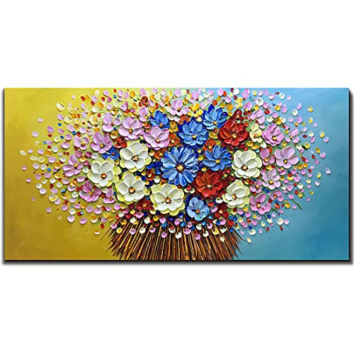 Asdam Art- Hand Painted Colorful Daisy Flower Oil Paintings on Canvas Modern Abstract 3D Wall Art Floral Artwork 24x48 inch
