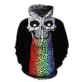 Mclochy 3D Print Big Skull Face Halloween Black Hoodies Sweatshirts Men Women (Asia L/XL = US M/L, Rainbow Skulls)