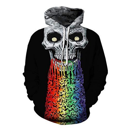 Mclochy 3D Print Big Skull Face Halloween Black Hoodies Sweatshirts Men Women (Asia L/XL = US M/L, Rainbow Skulls) ()