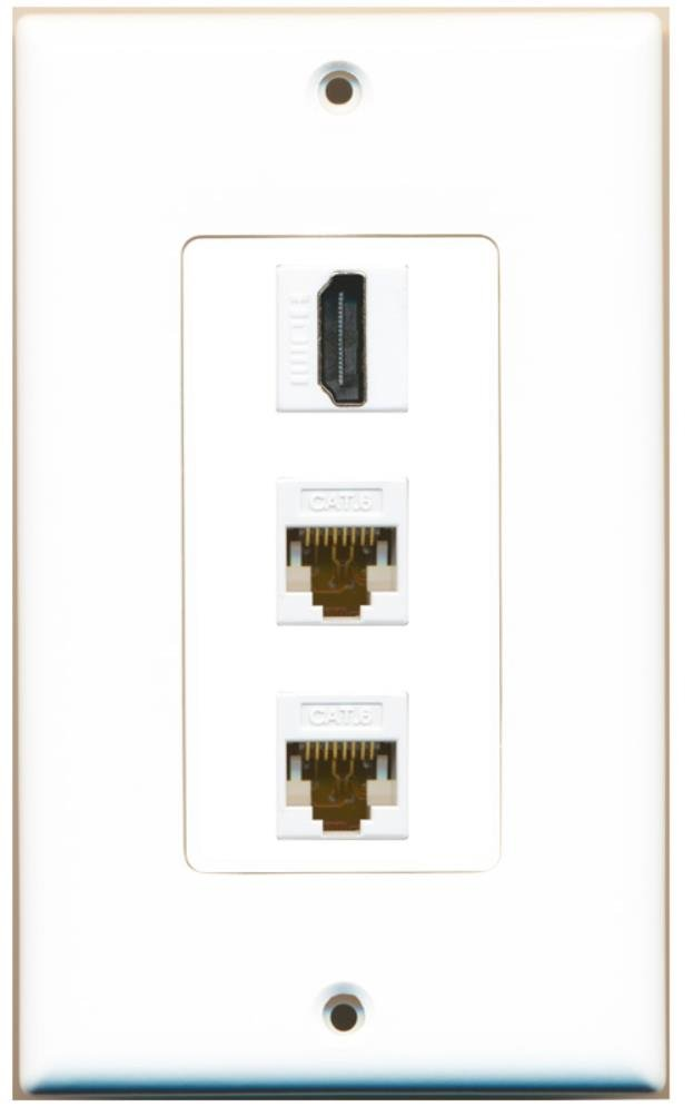 RiteAV - 1 Port HDMI 2 Port Cat6 Ethernet Decorative Wall Plate - White