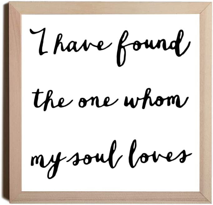EricauBird Wood Sign,I Have Found The One Whom My Soul Loves Wood Typography Sign, Framed Art Print Wood Sign, Floral Wreath Decorative Home Wall Art 12x12