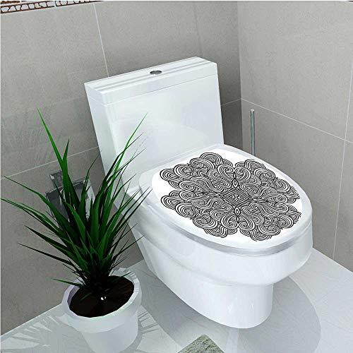 aolankaili Toilet Seat Sticker Mediaeval Celtic Rotary Heraldic Design with Squared Shape in The Centre Retro Artwork W12 x L14