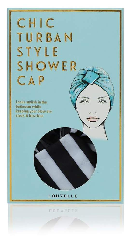 Louvelle Amelie Stripe Vintage Turban Style Shower Cap Black/White One by louvelle