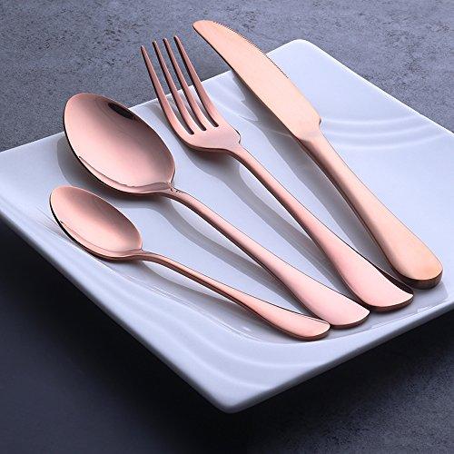 Buyer Star 4 Pcs Or rose Couverts en acier inoxydable Coutellerie Argenterie acier Vaisselle Set Ustensile Cuillère à café Cuillère Couteau Fourchette