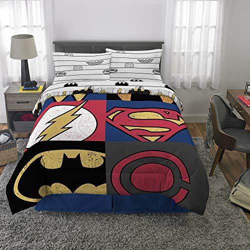 (Warner Bros Justice League Kids Bedding Soft Microfiber Comforter and Sheet Set 5 Piece Full Size Multi-Color)