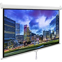 """VIVO 80"""" Projector Screen, 80 inch Diagonal 16:9 Projection HD Manual Pull Down Matte White Home Theater VIVO (PS-M-080)"""