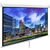 VIVO 100 Projector Screen, 100 inch Diagonal 16:9 Projection HD Manual Pull Down Home Theater VIVO (PS-M-100)