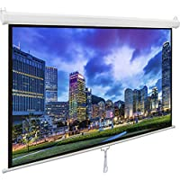 VIVO 100' Projector Screen, 100 inch Diagonal 16:9 Projection HD Manual Pull Down Home Theater VIVO (PS-M-100)