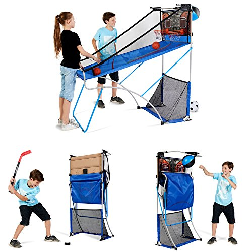 Buy Cheap MD Sports BBG019_067M 4 in 1 Junior Basketball Game (Basketball, Soccer, Boxing & KNEE Hockey), Blue