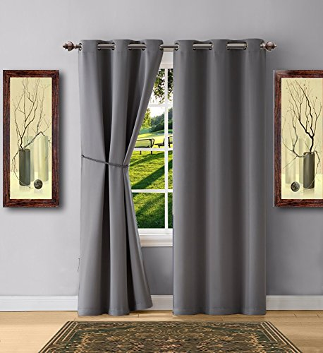 Cheap  Warm Home Designs 1 Pair (2 Panels) of Light Grey Blackout Curtains..