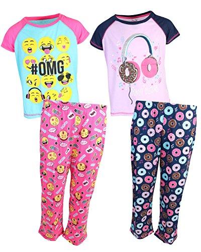 Rene Rofe Girl's 4-Piece Spring T-Shirt Capri Pants Pajama Set (2 Full Sets) Doughnuts/OMG, Medium/7-8 (Shirt Pajamas Pants)