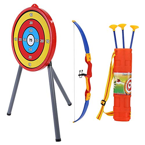 (Children Archery Bow Safe Plastic Kids Toy Archery Shooting Set for Fun Outdoor Indoor Sports Game Hunting Toy Gift)