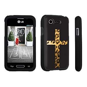 DuroCase ? LG L34C Optimus Fuel / LG Optimus Zone 2 VS415PP Hard Case Black - (Cross Leopard)