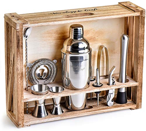 Mixology Bartender Kit: 11-Piece Bar Tool Set with Rustic Wood Stand - Perfect Home Bartending Kit and Cocktail Shaker Set For an Awesome Drink Mixing Experience - Best Gift for Husband | Men Birthday