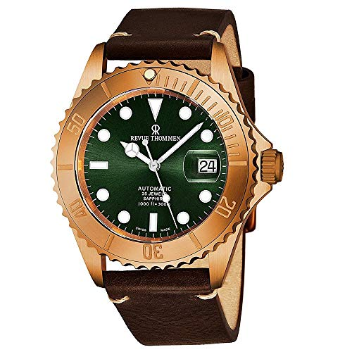 Revue Thommen Diver Mens Rose Gold Automatic Dive Watch - 42mm Green Face with Luminous Hands, Magnified Date, Sapphire Crystal - Brown Leather Band Swiss Made Waterproof Diving Watch 17571.2594
