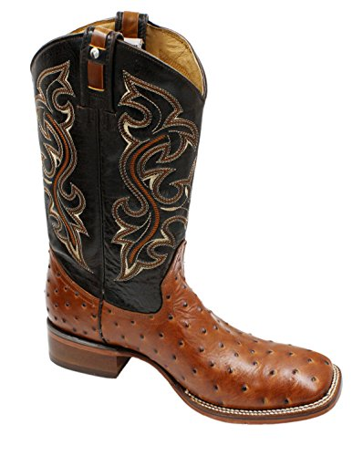 Men Genuine Cowhide Leather Square Toe Ostrich Print Western Cowboy Boots_Tan_11.5