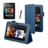 Blue Executive Multi Function Standby Case for the New Kindle Fire HDX 7'' Tablet with Built-in Magnet for Sleep / Wake Feature + Screen Protector + Capacitive Stylus Pen