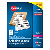 Avery White Shipping Labels with Paper Receipts, 5-1/16