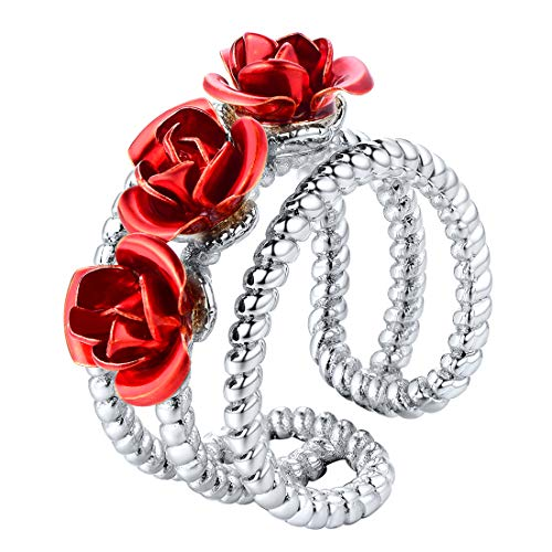 U7 You are My Rose Ring Platinum Plated 3-Line Red Flower Adjustable Free Size Open Ring (Jewelry For Women Box)