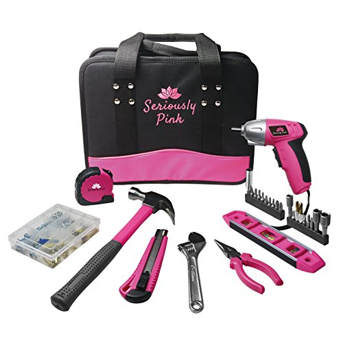 SP128HK101- SERIOUSLY PINK 128PC LADY HOUSEHOLD TOOL KIT (Switch Pliers Grip)