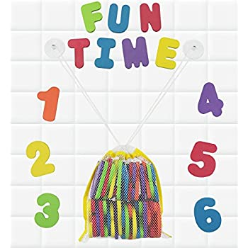 click n play bath foam letters numbers with mesh bath toys organizer 36 count