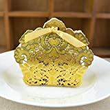 Zorpia 50 Pack Romantic Wedding Gift Box Decoration Flower Bride Laser Cut Party Sweet Favors Wedding Paper Candy Box (Gold)