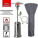 Parasol chauffant gaz 14KW Haute qualité Inox radiateur de terrasse + housse + connectique