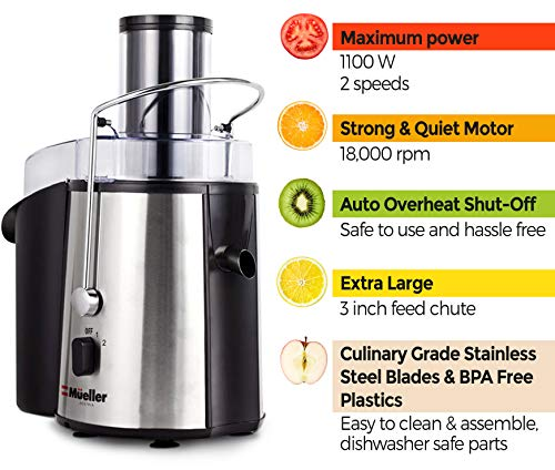 "Best juicer machine. MUELLER Juicer Ultra 1100W Power, Easy Clean Juice Extractor Press Centrifugal Juicer Machine, Wide 3"" Feed Chute for Whole Fruit Vegetable, Anti-drip, High Quality for Fruits and Vegetables, BPA-Free #juicers"