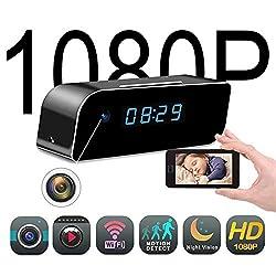 Mini Wireless Hidden Spy Camera Clock - Secret Nanny Cam, Best Digital Small Full HD 1080P with WiFi, Motion Detection & Night Vision, Camaras Espias Ocultas