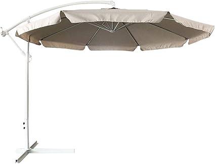 Sombrilla de jardín descubierta de 3 x 3 m, poste de aluminio con colgante cierre de manivela base de cruz sistema Air Vent decoración exterior cenador piscina jardín terraza ambientes exteriores, TóRTOLA: