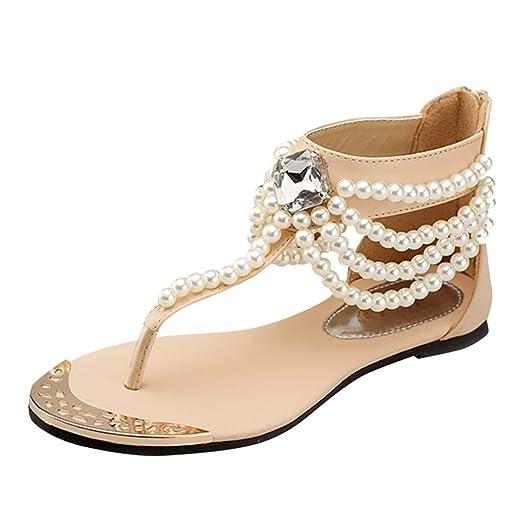 7046535e2ec39 Amazon.com: 〓COOlCCI〓 Womens Summer Beach Flat Sandals String Bead ...