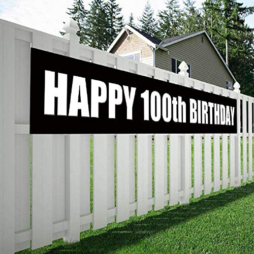 Maplelon Happy 100th Birthday Banner, 100 Birthday Party Sign Supplies Decorations -