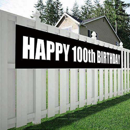 Maplelon Happy 100th Birthday Banner, 100 Birthday Party Sign Supplies -