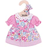 """Bigjigs Toys Pink Floral Rag Doll Dress for 11"""" Bigjigs Toys Soft Doll with Additional Matching Hair Accessories"""