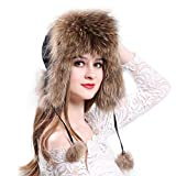 Manka Vesa Women's Real Fox Fur Hats Sheep Leather Earmuffs Warm Winter Hats Racoon Fur
