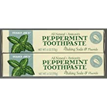 Trader Joe's All Natural Anticavity Peppermint Toothpaste with Baking Soda and Fluoride 6oz (Pack of 2)