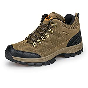 3C Camel Mens Waterproof Lightweight Breathable Leather Low Top Hiking Shoes Sneakers (9.5, Brown)
