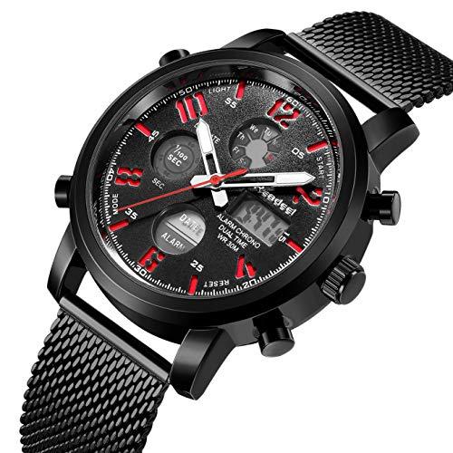 Tonnier Mens Watch Black&Golden Stainless Steel Ultrathin Mesh Strap Watch for Men (Digital)