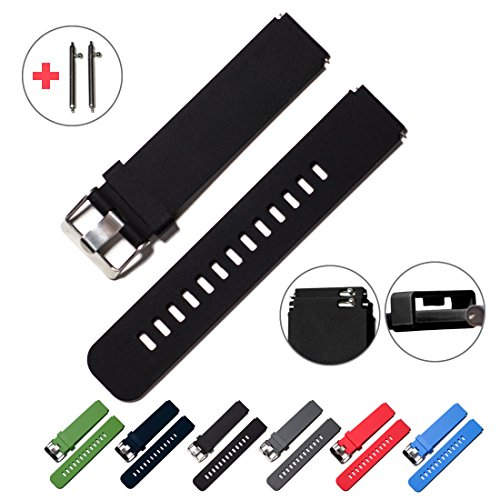 Quick Release Watch Bands - Choice of Colors & Widths (18mm, 20mm or 22mm) - Soft Silicone Rubber - 2 Extra Watch Pins (Black, 18mm)