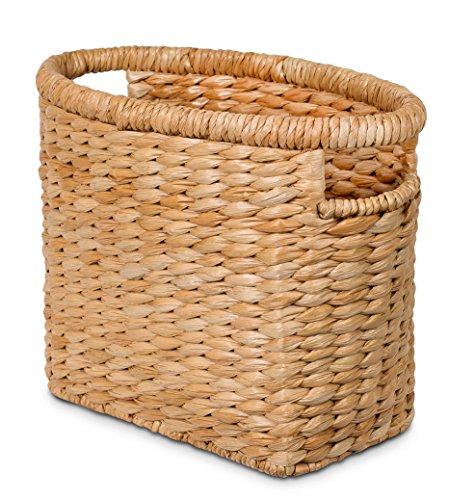 BIRDROCK HOME Seagrass Magazine Holder - Natural - Hand Woven Basket - Upright Living Room Organizer - Paper - Stylish Decorative Design - Slim Frame (Seagrass Sorter Laundry)