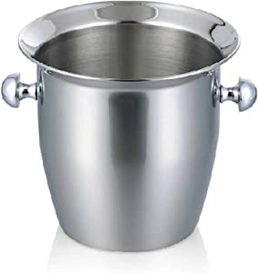 IC&EO Stainless Steel Ice Bucket,Portable Barware Champagne Bucket with Tongs Party Beverage Chiller Ice Wine Container-5l 15x22cm(6x9inch)