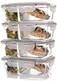 : Set of 4 Divided Glass Meal Prep Containers – Food Storage Containers with Locking Lids and Extra-High Divider to prevent Leaking or Spills – Airtight and BPA-Free – Use in freezer, microwave at work