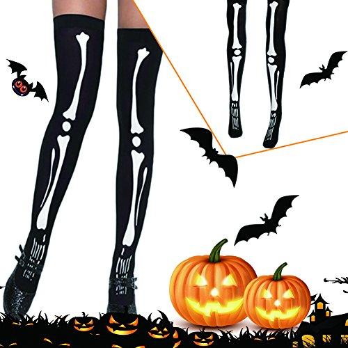 123 Halloween Costumes (Sundlight Halloween Costume Socking Thigh Highs and Tight Women Knee Length Boot Socks Black 1 Pairs,70cm/27.56